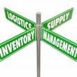 Inventory, Management, Logistics and Supply words on 4 green road signs — Stock Photo #70623389