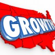 Growth word on a red 3d map of the United States of America — Stock Photo #70623491
