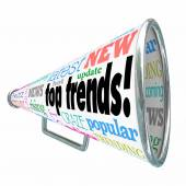 Top Trends words on a bullhorn or megaphone — Stock Photo