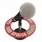 Your Opinion Counts words in 3d words around a microphone — Stock Photo