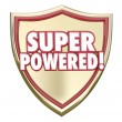 Super Powered words on a gold 3d shield — Stock Photo #71470451