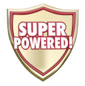 Super Powered words on a gold 3d shield — Stock Photo