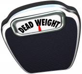 Dead Weight words on a scale — Stock Photo