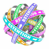 Retention word on rings in a cycle or circle — Stock Photo