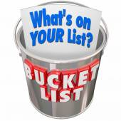 What's On Your Bucket List words on a metal pail — Stock Photo