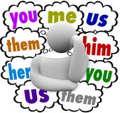You Me Us Them Her Him words in thought clouds — Stock Photo