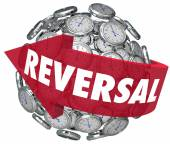 Reversal word on a red arrow pointing backward on a sphere — Stock Photo