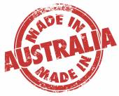 Made in Australia words in red ink and grunge style stamp — Stock Photo