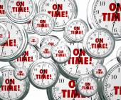 On Time words on clocks flying by — Stock Photo