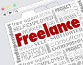 Freelance word on website screen — Stockfoto