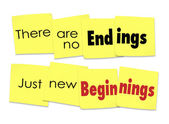 There are No Endings Just New Beginnings words — Stock Photo