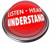 Listen, Hear and Understand words — Stock Photo