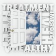 Treatment, Therapy and related words around an open door — Stock Photo #72897147