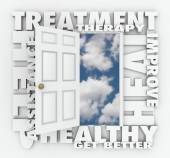 Treatment, Therapy and related words around an open door — Stock Photo