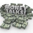 Money Talks words in white 3d letters — Stock Photo #72981863
