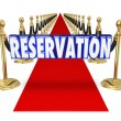 Reservation word in blue 3d letters on a red carpet — Stock Photo #72982163