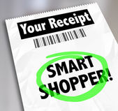 Smart Shopper words on a store receipt — Stock Photo