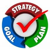 Strategy, Goal and Plan words on arrows in a circular pattern or diagram — Stock Photo