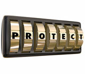 Protect word in letters on gold safe or lock dials — Stock Photo