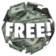Free word in white 3d letters on a ball or sphere of money — Stock Photo #73713483