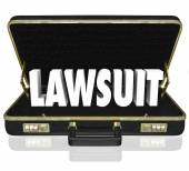 Lawsuit 3d word in a black leather briefcase — Stock Photo