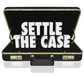 Settle the Case words in white 3d letters in a black leather briefcase — Stock Photo