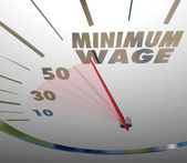 Minimum Wage words on a speedometer — Stock Photo