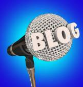 Blog Microphone Word Interview Audio Report Program — Stock Photo