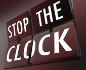 Stop the Clock Flipping Tiles Halt Pause End Problem Trouble — Stock Photo