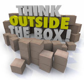 Think Outside the Box 3d words surrounded by cardboard boxes — Stock Photo