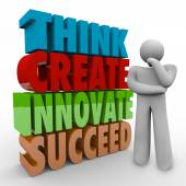 Think, Create, Innovate and Succeed 3d words beside a thinking person — Stock Photo