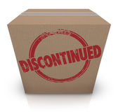Discontinued word stamped on a cardboard box — Stock Photo