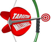Targeting Millennials Bow Arrow — Stock Photo