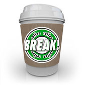 Coffee Break words on a white plastic cup — Stock Photo
