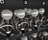 Microphones in a snack or vending machine — Stock Photo