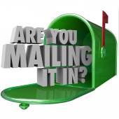 Are You Mailing It In question in 3d words in a green metal mailbox — Stock Photo