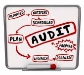 Audit steps drawn on a diagram on dry erase or message board — Stock Photo