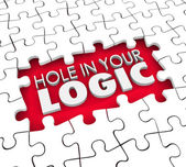 Hole in Your Logic words in a hole where puzzle pieces are missing — Stok fotoğraf