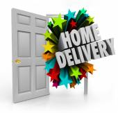 Home Delivery words in 3d letters coming in an open door — Stock Photo