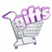 Gifts word in 3d letters in a shopping cart — Stock Photo