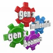 Generation X Y Z, Millennials and Boomers words — Stock Photo