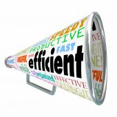 Efficient word on a bullhorn or megaphone — Stock Photo