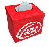 Brainstorm word on a red suggestion, collection or submission box — Stock Photo