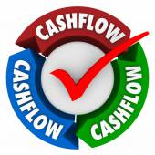 Cashflow word on arrows and check mark — Stock Photo