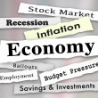 Economy headlines with words stock market, savings, investment, financial, bailout, recession, employement — Stock Photo #77333448