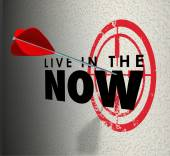 Live in the Now words on a target wall — Stock Photo