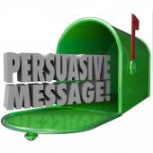 Persuasive Message words in a green metal mailbox — Stock Photo
