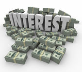 Interest word for income earnings from investment or credit card — Stock Photo
