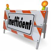 Inefficient word on a road construction sign — Stock Photo