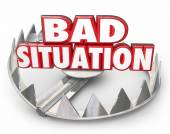 Bad Situation 3d words in a steel bear trap — Stock Photo